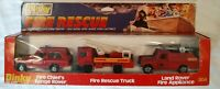 1x Vintage Dinky 304 Fire Rescue Set Range Rover, Platform Truck, Land Rover VGC