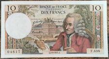 Billet de 10 francs VOLTAIRE 2 - 9 - 1971 FRANCE  F.698