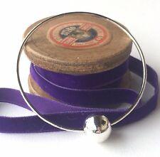 Silver Handmade Bangle with Silver Floating Bead, Handmade Hammered Bracelet