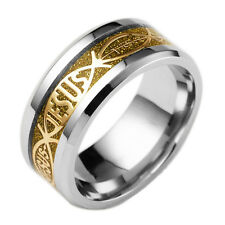 8mm Stainless Steel Titanium Jesus Christian Prayer Men Gold Band Ring Size 7
