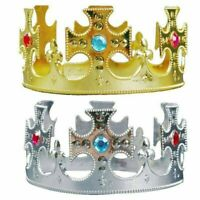 2pc Party Tiara Royal Queen King Prince Crown Hats Birthday Decor for Boys Girls