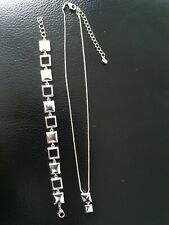 Magnetic Therapy Silver Plated Necklace and Bracelet set with Square links