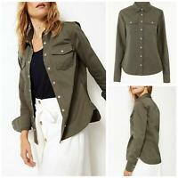 M&S Marks and Spencer Ladies Khaki Military Stretch Cotton Shirt Long Sleeve
