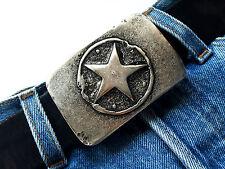 Fibbia Cintura Star Stella Buckle Vintage Argento Biker Fibbia di cambio 4 cm