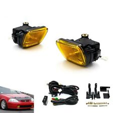 For 96-98 Honda Civic 2/3/4DR Yellow Fog Lights Driving Lamps Kit With Switch