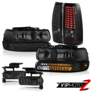 99-02 Chevrolet Silverado 1500 LED Smoke Head Lamps Parking Tail Light Foglights