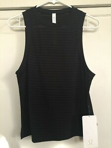NWTA Women's Sz 4 Lululemon Uncovered Muscle Tank, Blk Burnout Stripe