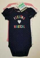 Child of Mine Carters Short Sleeve Bodysuits 3 pack Girls 3-6 or 6-12 Months NWT