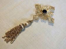 """Stunning Brooch Pin Gold Tone Filigree Black Rhinestone Tassel 6 x 3"""" Wow"""