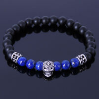 Mens Women Skull Matte Black Onyx Lapis Sterling Silver Bracelet DIY-KAREN 249