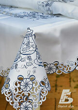 """Oblong Table cloth,  Embroidered Tea Pots, 150x225cm (60""""x90"""") FFDWY21"""