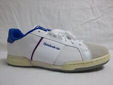 Reebok Siz 12 M NPC White Blue Leather Low Athletic Sneakers New Mens Shoes NWOB