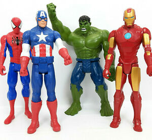 4 x  Marvel Avengers 11 Inch Figures   Iron Man   Hulk   Spiderman   Cap America