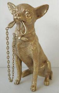 Deko Figur Hund Chihuahua Welpe gold Leine im Mund Dekoobjekt Skulptur Statue
