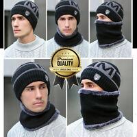 Wintermütze Warmer Beanie Strick Mütze mit Schal mit Fleecefutter Damen Herren