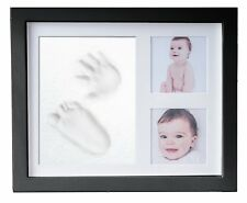 Baby Hand & Foot Print Clay Cast Kit & 2 Photo Picture Frame Christening Gift