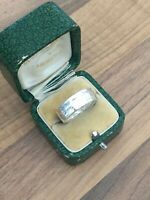 Beautiful Marked Sterling Silver Size P Textured Band Ring 4.27gr
