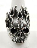 Stainless Steel Flaming Skull Biker Ring - Free Gift Packaging