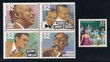 Big Band Leaders - Count Basie, Glenn Miller, Benny Goodman - 5 U.S. Stamps