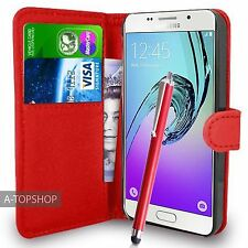 Rosso WALLET CASE A LIBRO PU pelle cover per Samsung Galaxy a3 a310 2016 mobile