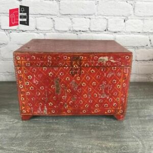 Pandora Hand Painted Indian Solid Wood Red Storage Box (MADE TO ORDER)
