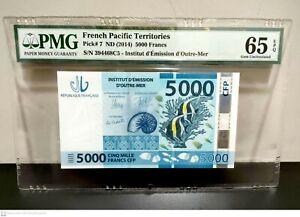 FRENCH PACIFIC TERRITORIES 5000 Francs 2014, P-7, PMG 65 EPQ, Gem UNC