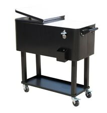 80 Qt Rolling Ice Chest Portable Patio Party Drink Cooler Cart Roller NEW