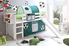 Lit mezzanine avec toboggan MANUEL pin teinté blanc tissus football