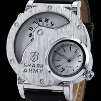 SHARK ARMY Men Big Face Time Zone Outdoor Leather Strap Quartz Sport Wrist Watch