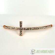 10Pcs Skiny Curved Side Ways Crystal Rhinestones Cross Bracelet Connector Bead