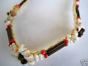 Hawaiian Hawaii Jewelry Shell Lauhala Necklace Beige Brown Red ( QTY 2 )