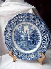 """STAFFORDSHIRE Ironstone DINNER PLATE~Liberty Blue Independence Hall~BLUE 9 7/8 """""""