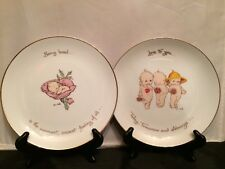 Set of 2 Authentic Kewpie Rose O'Neill Design Plates: Being Loved, Love to you.