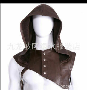 Vintage Leather Dark Headgear Cape Style Sleeveless Hoodie Cosplay Costume