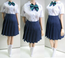 1/6 Female White Shirt&Blue Pleated skirt&Socks Clothes Set Fit 12'' Body