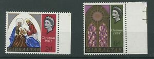 Gibraltar 1967 Christmas SG 217w 2d wmk inverted and SG218w 4d wmk crown toright