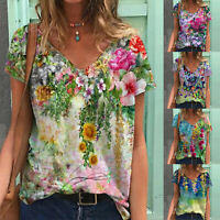 Womens Floral V-Neck Short Sleeve Tunic T-shirt Casual Blouse Tee Tops Plus Size
