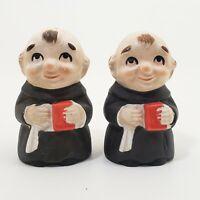 "Friar Tuck Salt Pepper Shakers Japan Holding Red Book 3.25"" Monk"