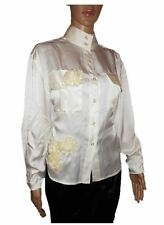 Womens Vtg Retro Ivory Victorian Formal Satin Embellish Shirt Blouse sz L AB79