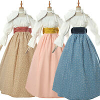 Women Floral Prairie Dress Deluxe Colonial Dress Pioneer Costume Victorian Skirt
