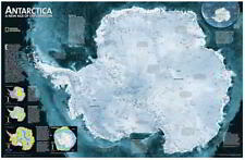 NEW Laminated Wall Maps - Continents Antarctica Satellite