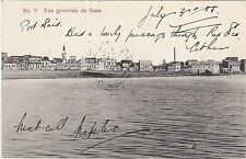 EYGPT VIEW OF SUEZ POSTCARD WITH CACHET FOR EGYPTAIN CIGARETTES