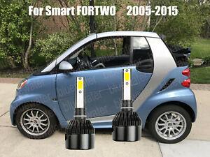 LED For Smart FORTWO 2005-2015 Headlight Kit H7 6000K White CREE Bulbs Low Beam