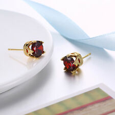2.00 Ct Round Red Garnet 18k White Gold Plated Stud Earrings