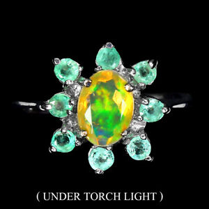 Unheated Oval Fire Opal Rainbow 7x5mm Emerald 925 Sterling Silver Ring Size 7