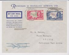Rhodesia & Mozambique Stamps 1935 First Airmail Two Leg Cover Postal History