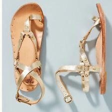 Anthropologie Beek Lark Platinum Leather Buckle Strap Harness Sandals Sz 7 NEW