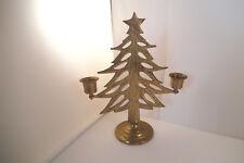 Vintage Brass Metal Christmas Tree Candle Holder