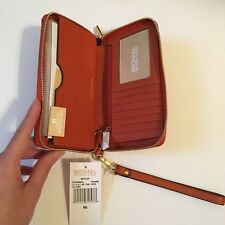 Michael Kors Pebbled Leather Orange Wristlet Phone Case Wallet Clutch New w/ Tag