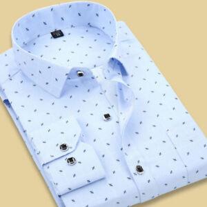 Mens Long Sleeves Shirts Formal Slim Fit Stylish Business Dot Multicolor Shirts